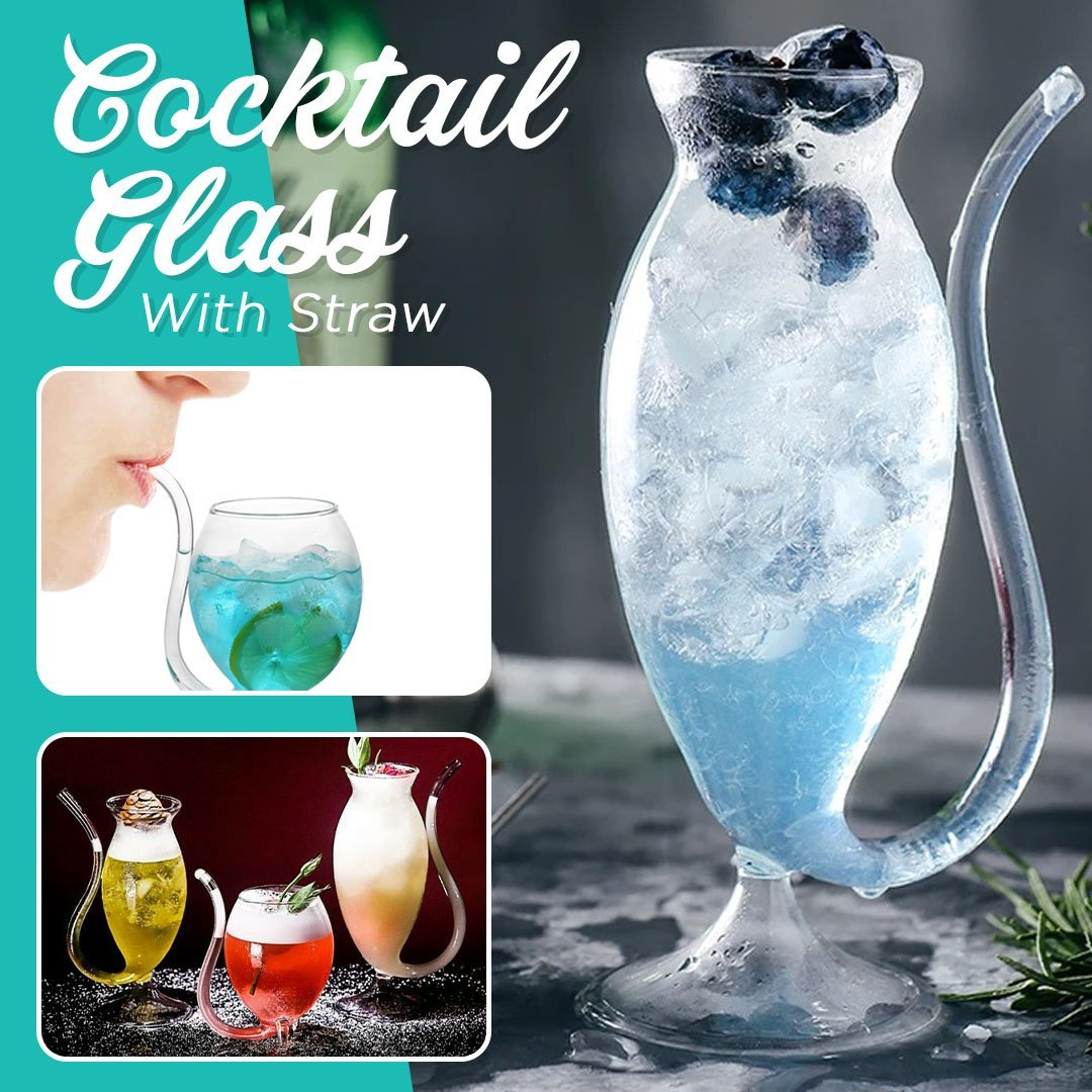 Heat-resistance Cocktail Glass with Straw