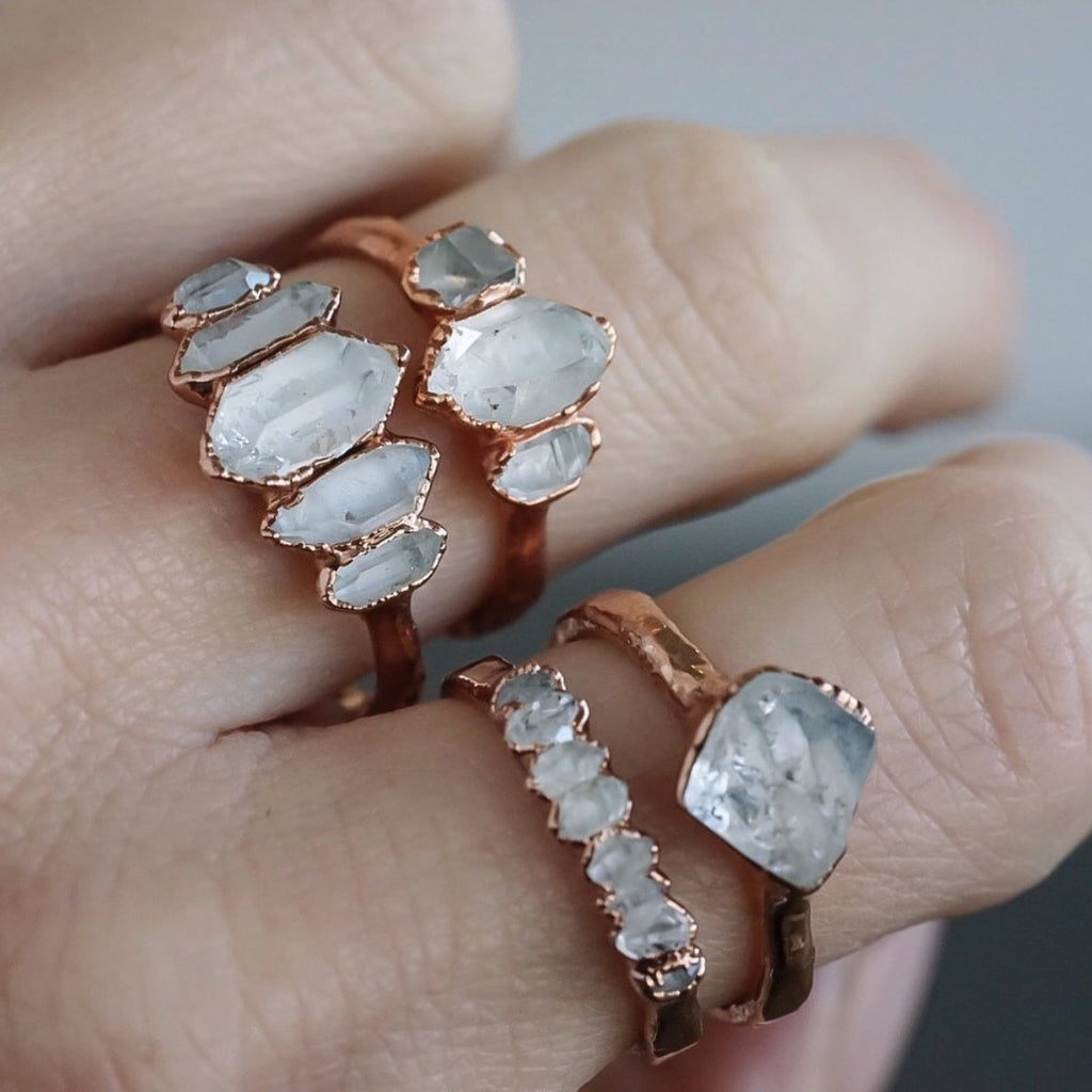 Diamond Quartz Multi Stone Ring