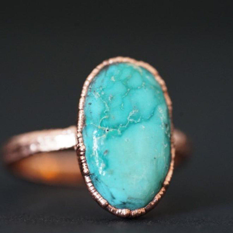 Turquoise Polished Oval Ring