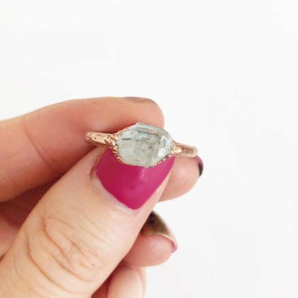 Herkimer Diamond Minimalist Ring