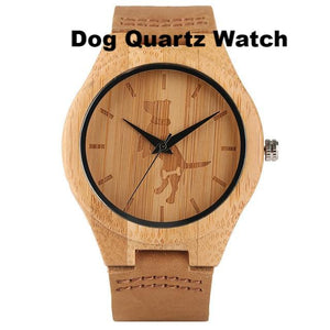 New Men and Teen's Bamboo Animal Quartz Wristwatch