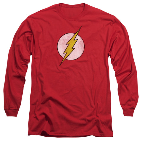 Dc - Flash Logo Distressed Long Sleeve Adult 18/1
