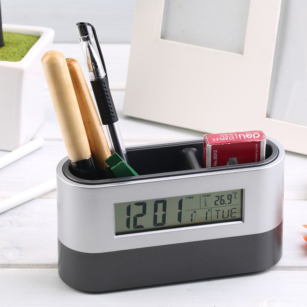 Desk Table Clock with Stationary Organiser