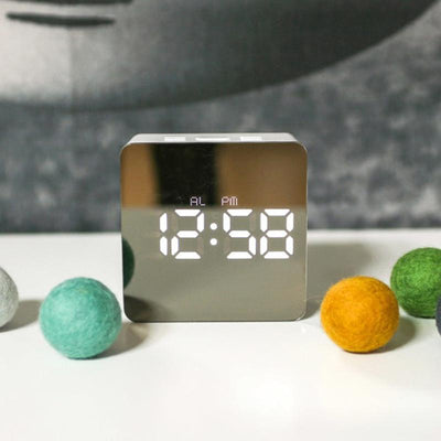 Square Reflective Alarm Clock