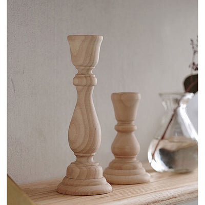 Raw Wood Candle Holders