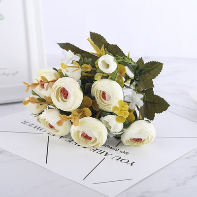 Floral Collection - Silk Blooming Roses and Daisy Bouquet