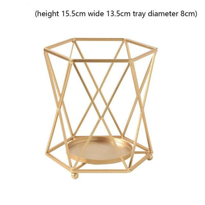 Golden Geometric Candle Holders