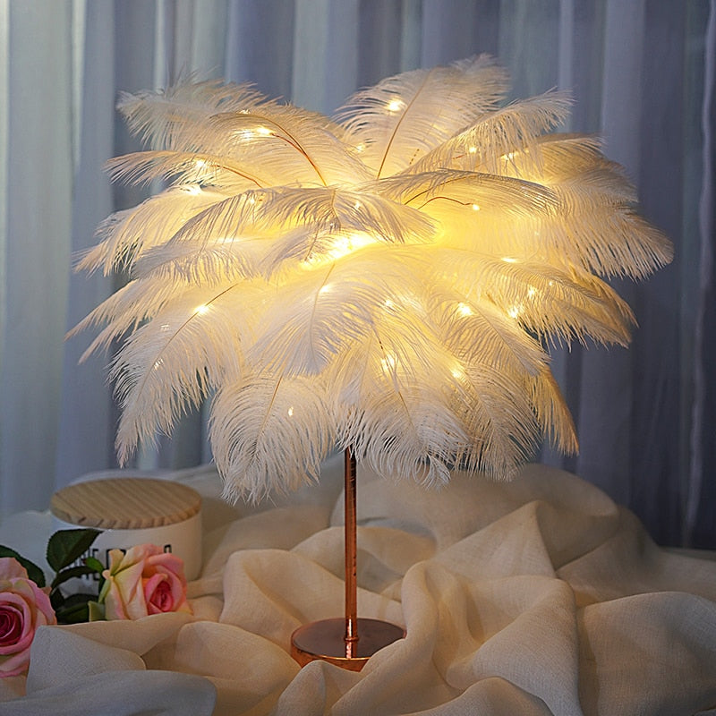 DIY Feather Table Lamp