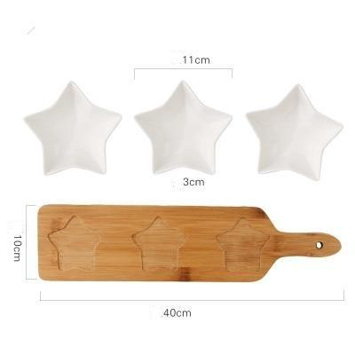 3 Piece Snack Bowl with Wooden Serving Tray