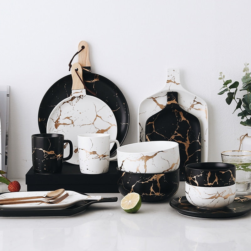 Black and White Marble Servingware