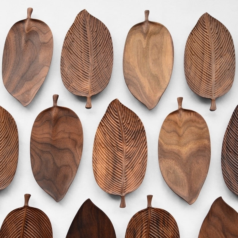 Wooden Leaf Tea Tray