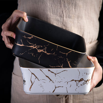 Black and White Marble Serving Dish