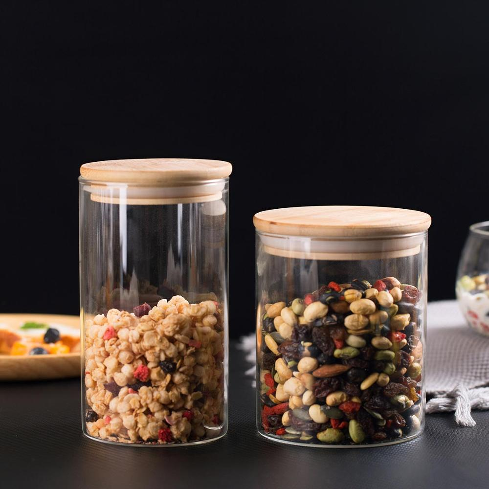 Sealed Glass Canisters with Bamboo Lid