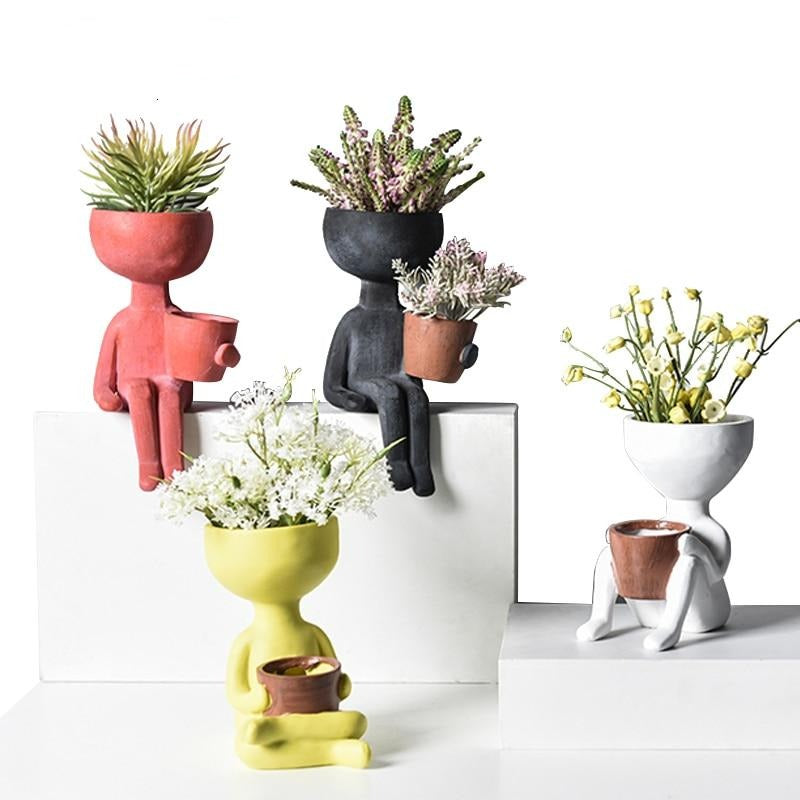 Mini Men Ceramic Planter