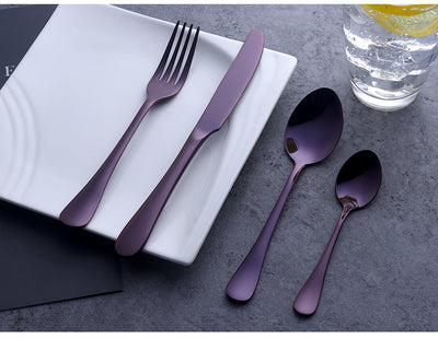 24 Piece Purple Cutlery Set