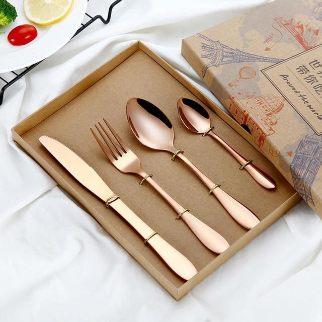 Rose Gold Cutlery Set (4 Piece) - The Decor House