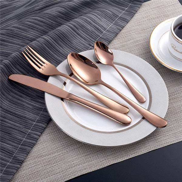Rose Gold Cutlery Set (4 Piece)