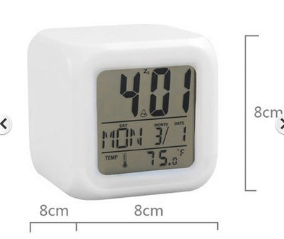 7 Colour Glowing Alarm Clock - The Decor House