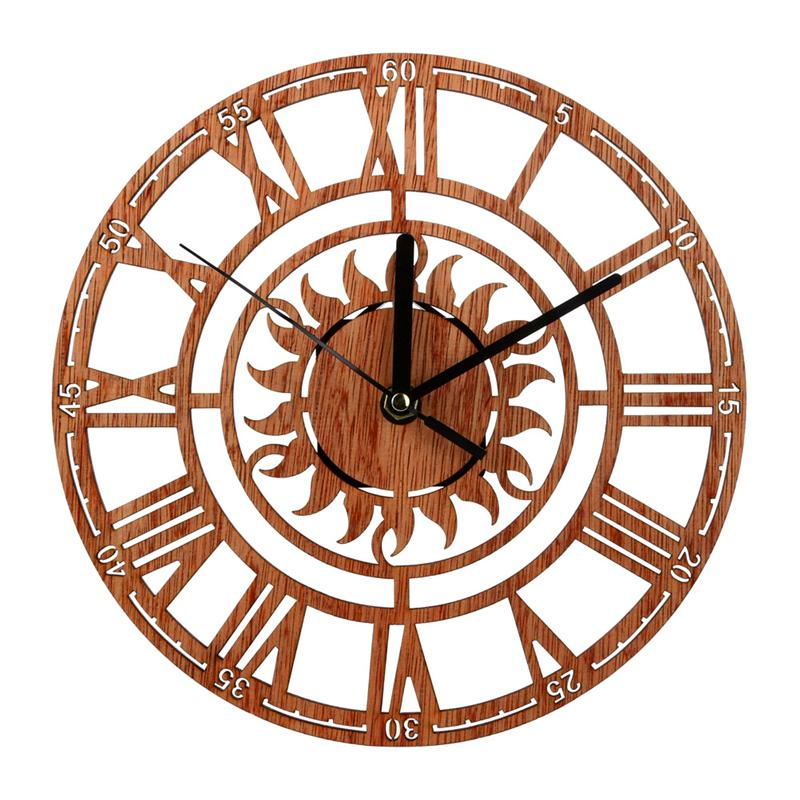 Wooden Wall Clock (Sun)