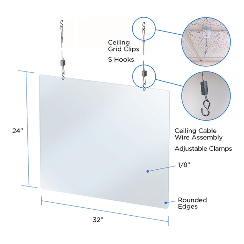 ACRYLIC PLEXIGLASS HANGING SHIELD/SNEEZE GUARD FOR NAIL SALON & RETAIL