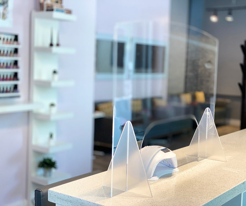 ACRYLIC PLEXIGLASS TABLE SHIELD/SNEEZE GUARD FOR NAIL SALON & RETAIL - IN STOCK!