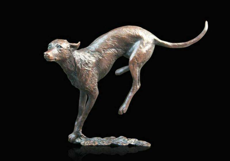 Bronze Lurcher sculpture