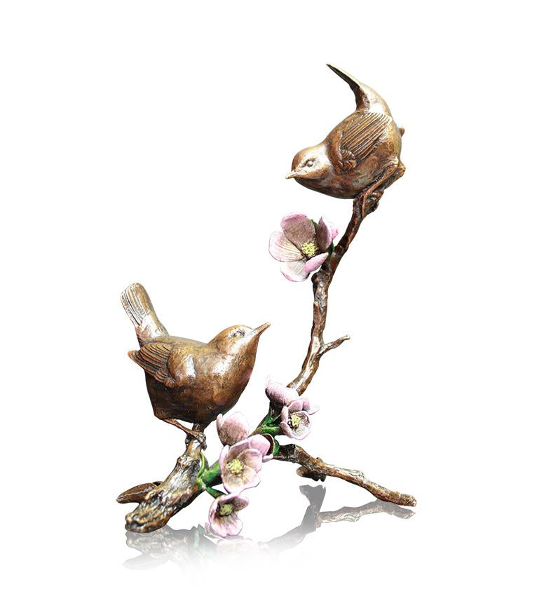 Solid bronze apple blossom wrens 1022 Richard Cooper hand painted