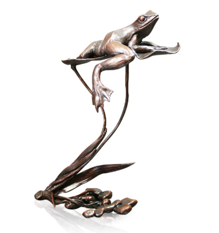 Richard Cooper solid bronze sculpture frog on lily pad 1038