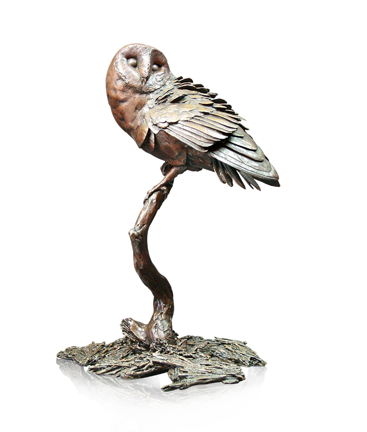 Solid bronze sculpture Night owl sculpted by Michael Simpson