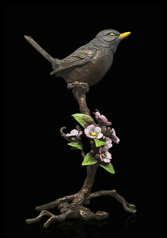 Richard Cooper Blackbird with Blossom 1046 Bronze sculpture