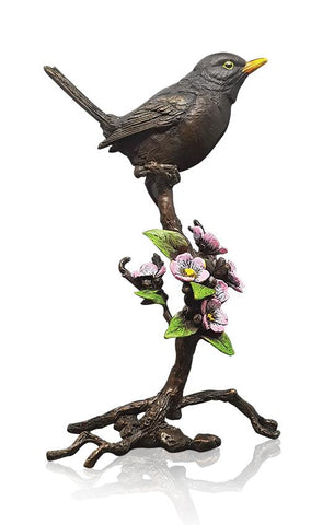 1046 blackbird with blossom hand painted solid bronze