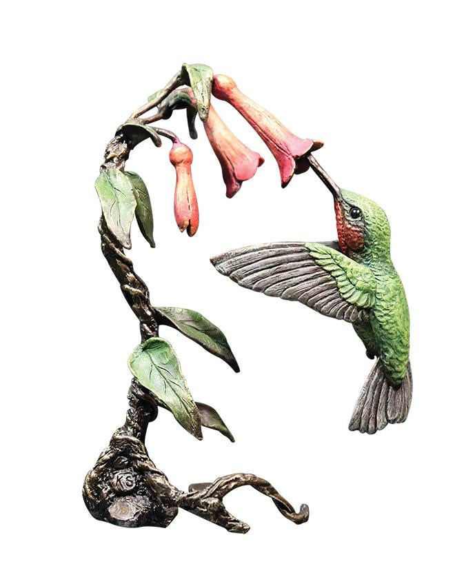 Bronze sculpture Hummingbird 1081 hand painted