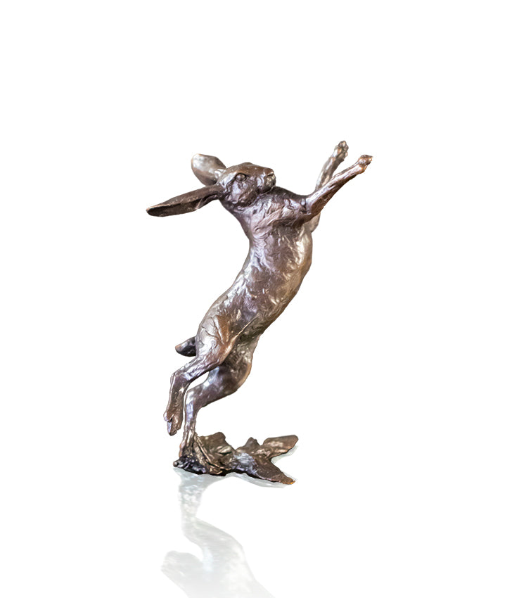 Richard Cooper solid bronze hare sculpture small hare boxing 1118