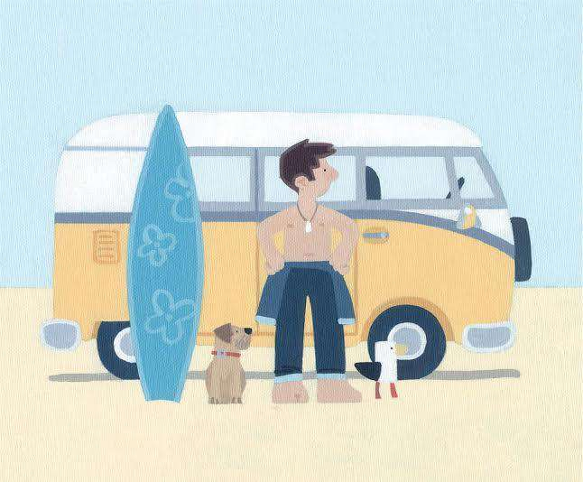 Sasha Harding Cool Surf Dude, Bantham Beach mounted