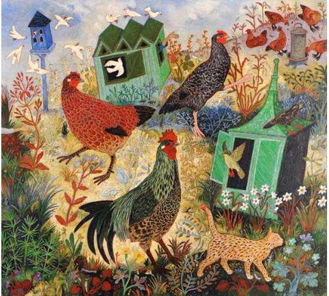Anna Pugh Feeding the hens mounted