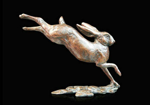 Small Hare Running 984 solid bronze sculpture