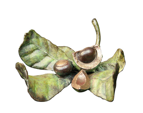 Richard Cooper solid bronze conker leaf