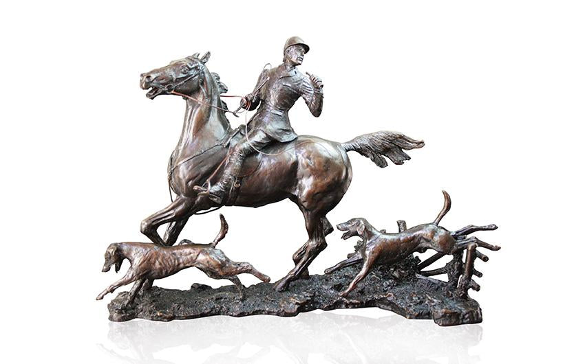 Richard Cooper solid bronze sculpture horse & hounds doubling the horn
