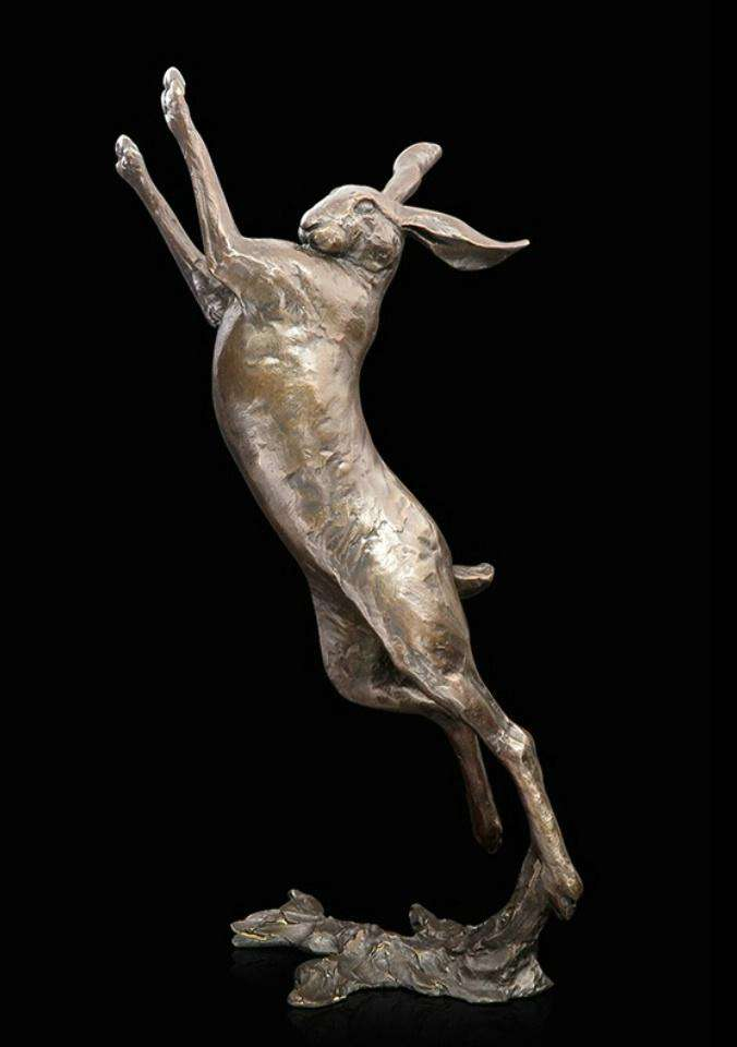 Michael Simpson Solid bronze Large Hare boxing 940