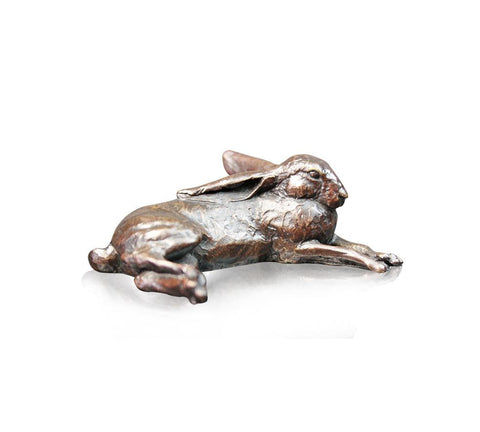 Richard Cooper small hare lying solid bronze sculpture