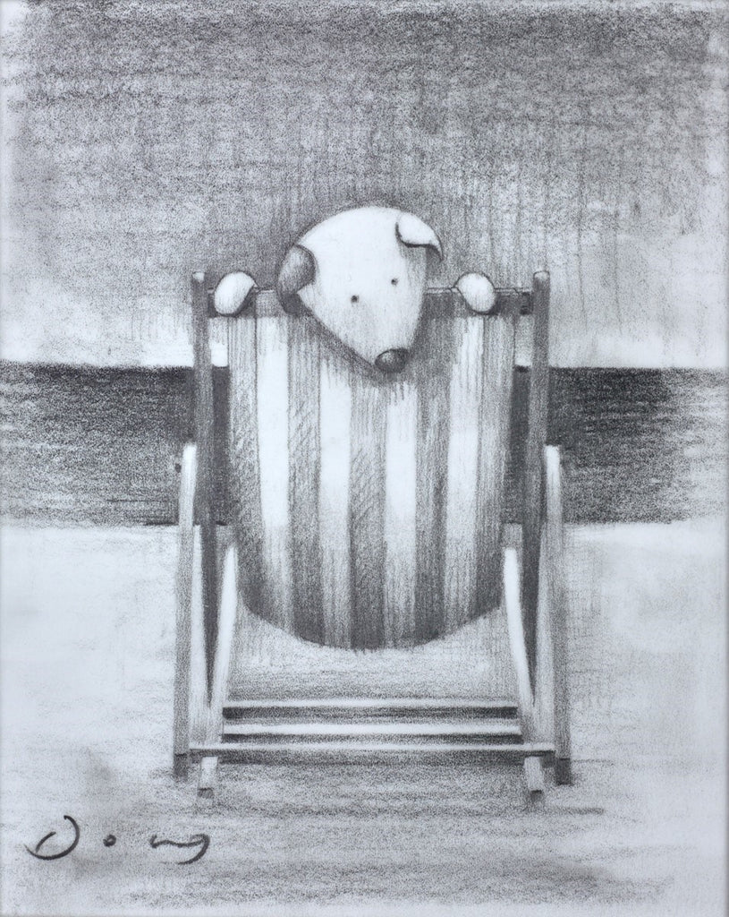 seaside dog drawing deckchair holidays hyde