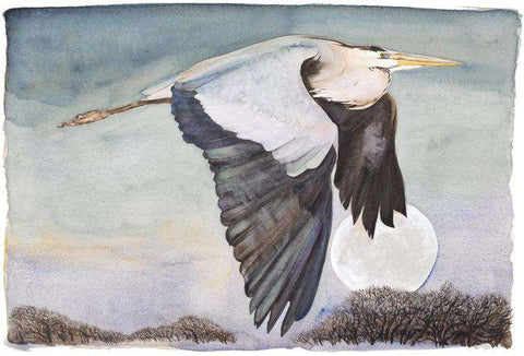 Jackie Morris & Robert MacFarlane The Lost Words Heron in Flight Limited Edition Print