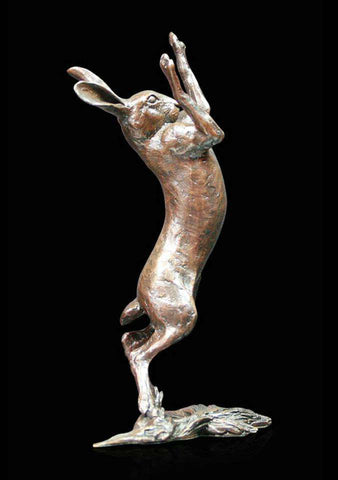Richard Cooper Medium Hare Boxing Bronze Sculpture
