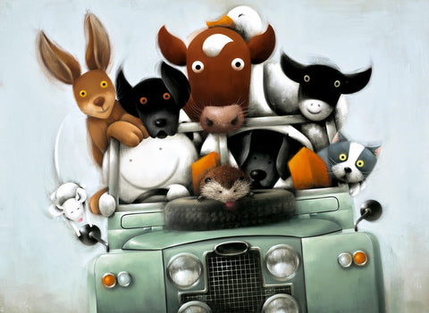 Doug Hyde Overloaded with love Landrover vehicle unframed