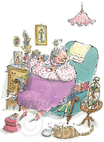 Sir Quentin Blake G is for Grandma art print