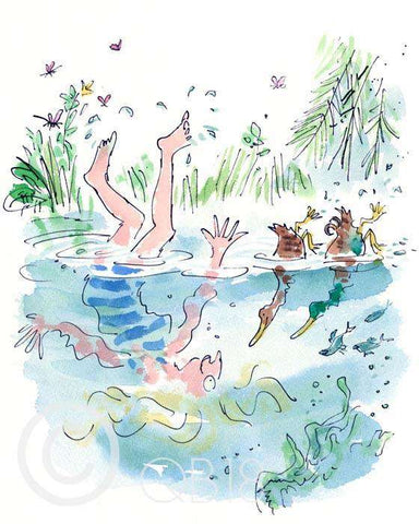 Quentin Blake D is for ducks art print