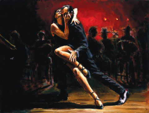 Tango in Red Fabian Perez Dance Art Painting Hand finished