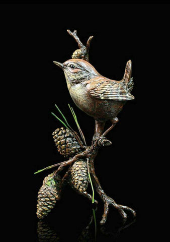 Richard Cooper Wren with Pinecones 1045 Bronze sculpture