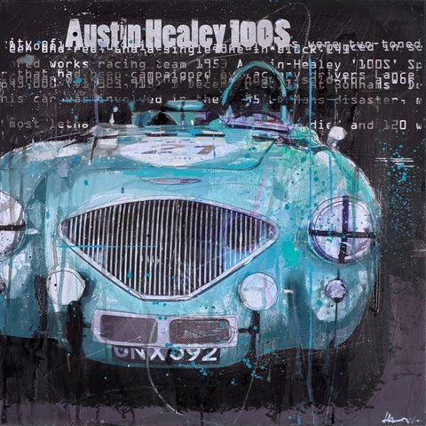 marcus haub austin healey blue car text art painting
