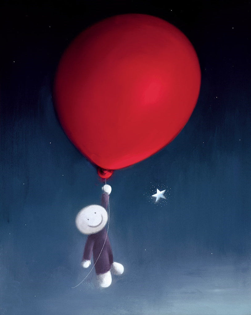 doug hyde floating cartoon fly balloon red star gazing